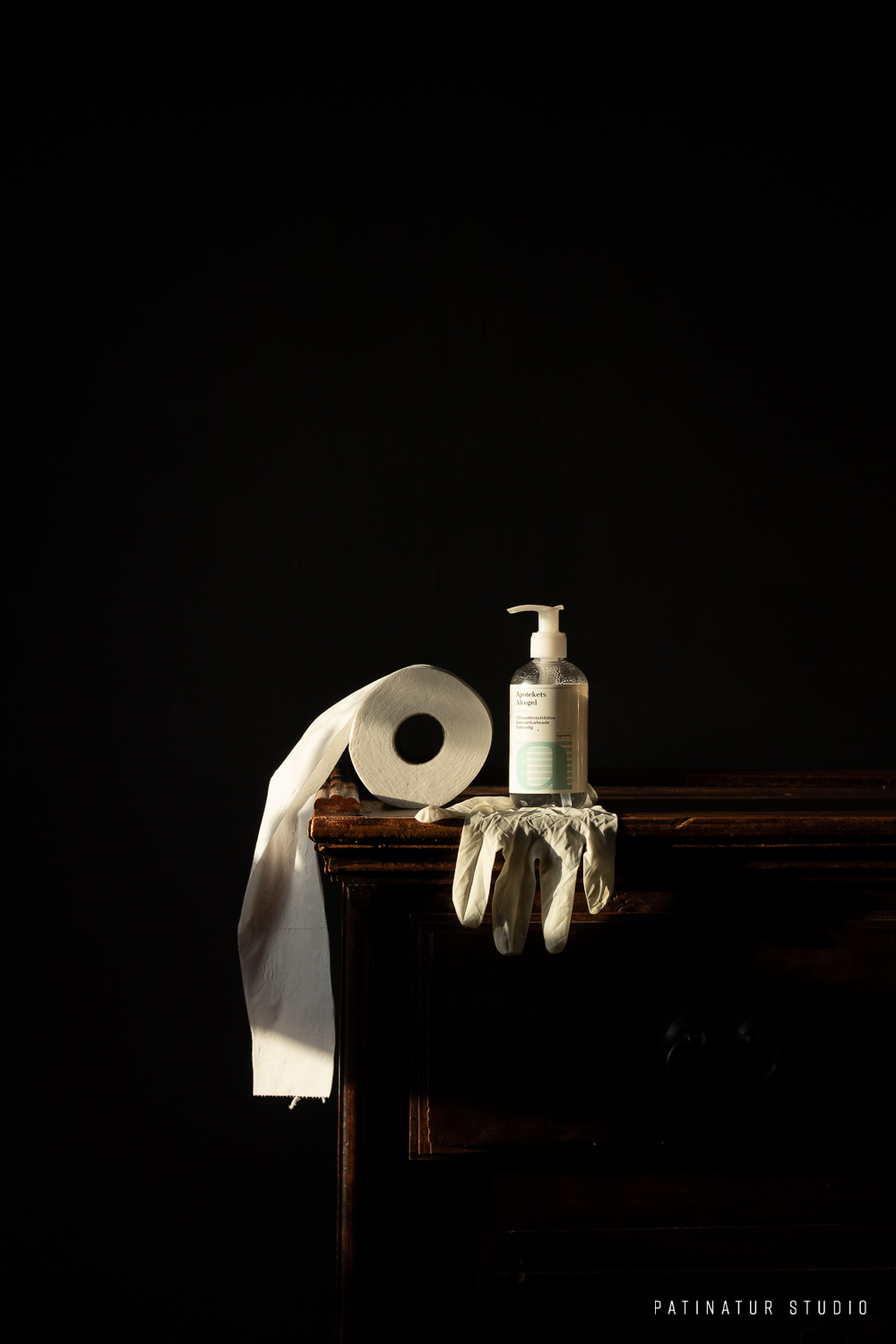 Photo Art | 'Corona pandemic' 'Old Master' inspired still life with toilet paper, hand sanitizer and protective glove.