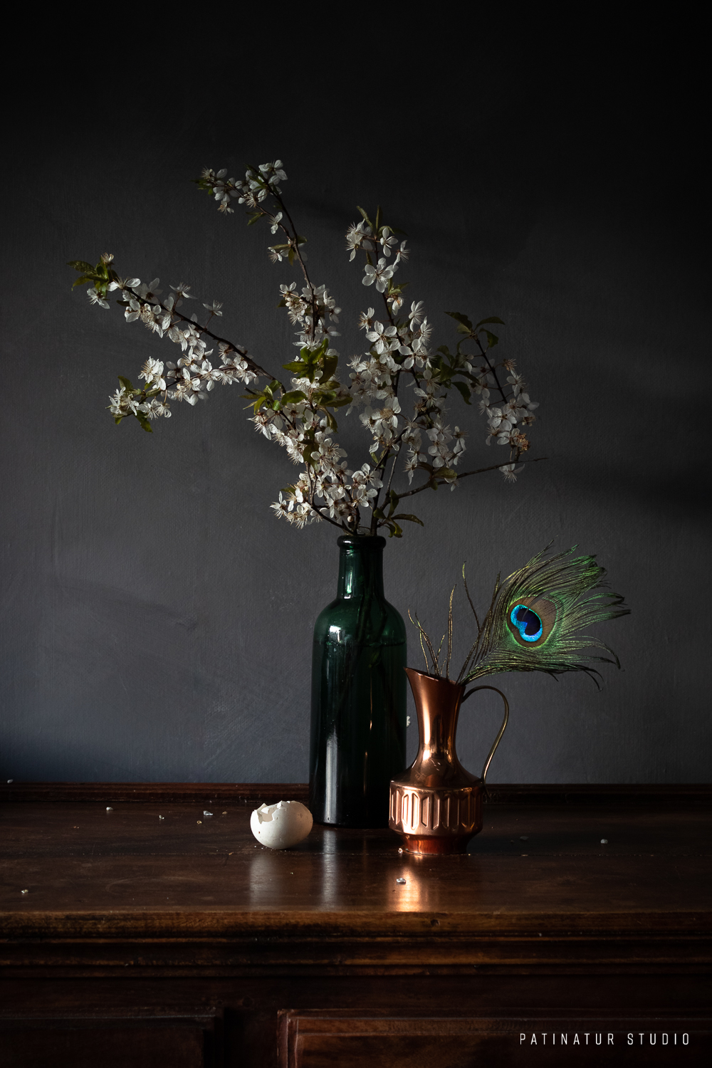 Photo Art | Dark and moody object still life photo with egg and feather.