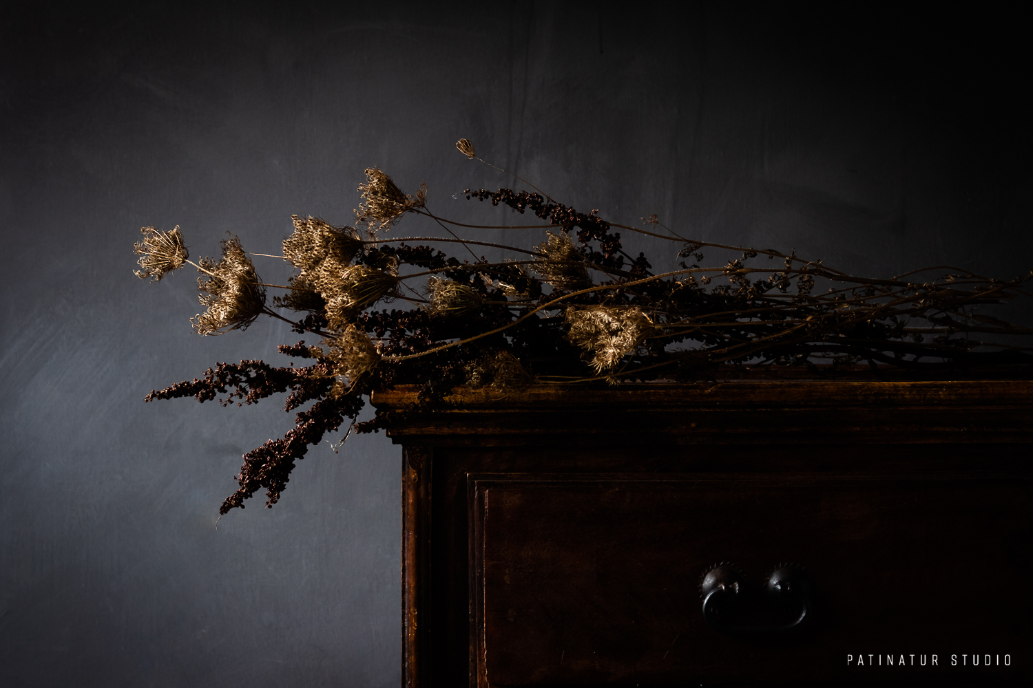Photo Art | Dark and moody still life with bouquet of dried seedheads