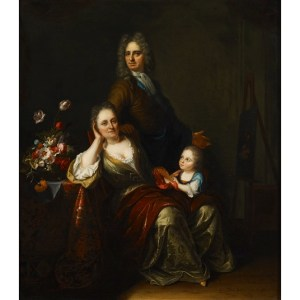 Juriaen Pool's family portrait of himself, wife Rachel Ruysch and one of their children.