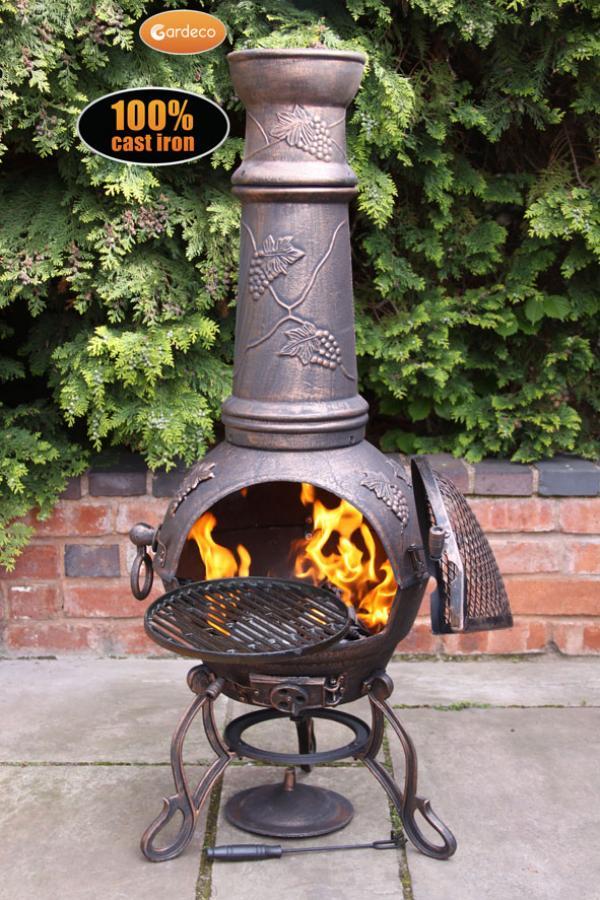 Gardeco Toledo Cast Iron Chiminea XL Bronze  Patio Life