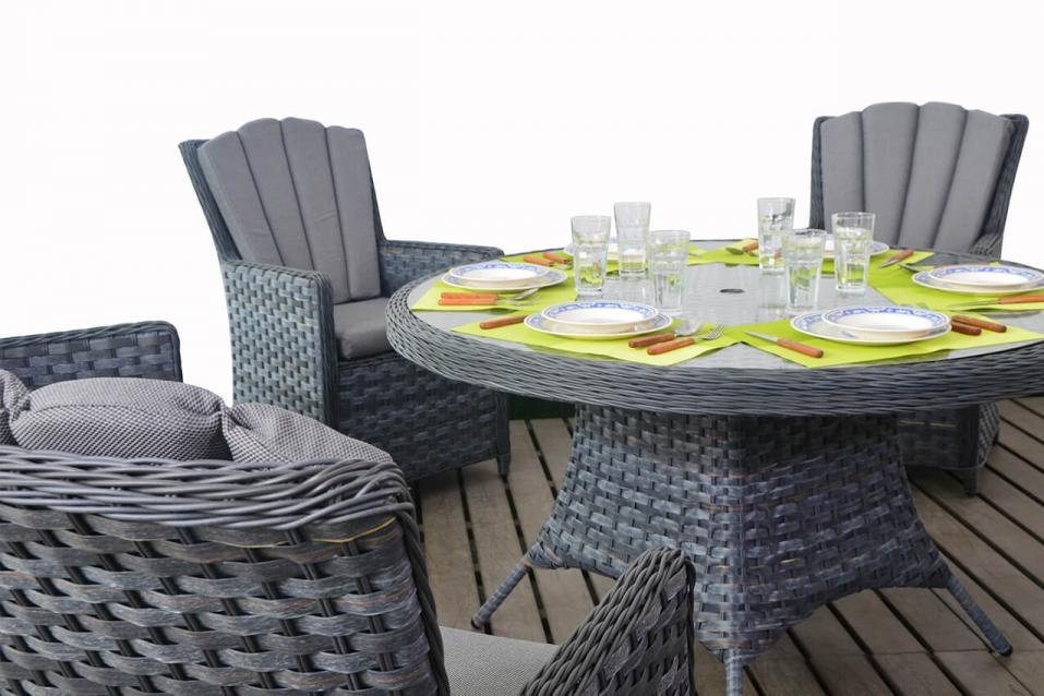 Platinum Rattan Round Dining Table & Chairs