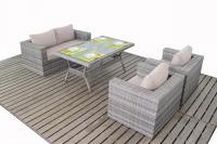 Patio Life // Rustic Rattan Sofa & Dining Table Set