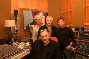 Chopper the Musical team: Warren Wills, Frank Sablotny, Frank Howson and Yury Kogan at Black Pearl Studios.