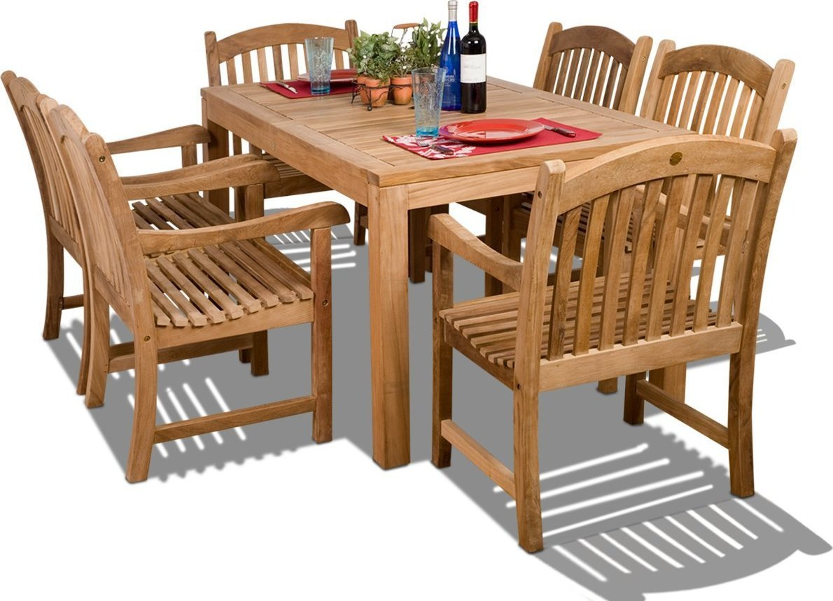 Amazonia Teak Oslo 7 Piece Rectangular Teak Outdoor Dining
