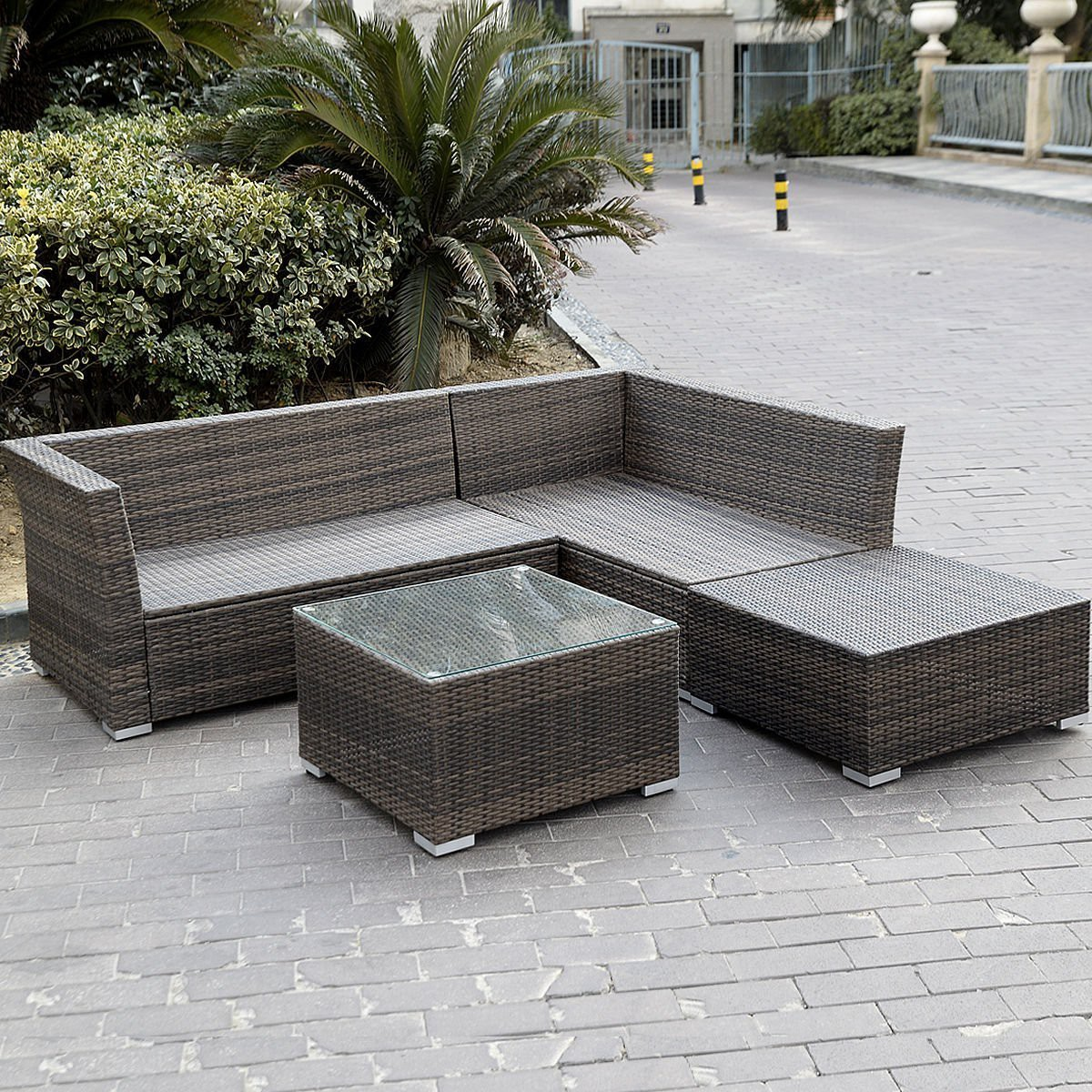 Outdoor Rattan Sofa Giantex 4pc Wicker Rattan Outdoor Sectional Sofa Set