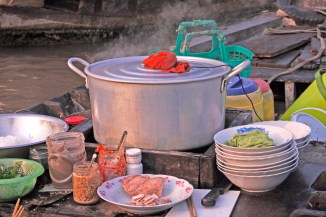 Cantho Vietnam floating kitchen detail