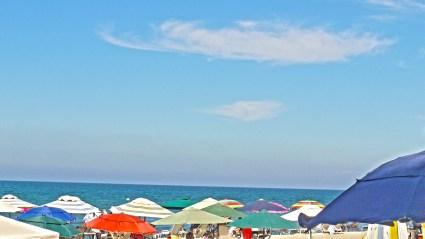 Sayulita color umbrellas sky