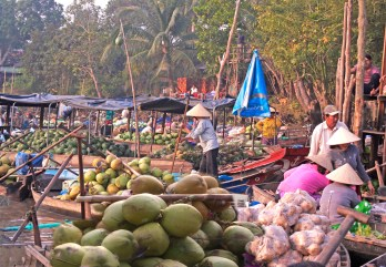 Cantho Vietnam floating market melons coconuts copy