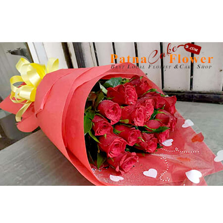 15 red roses red paper packing bouquet danapur patna