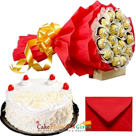 white forest cake and 16 Ferrero Rocher Chocolate Bouquet