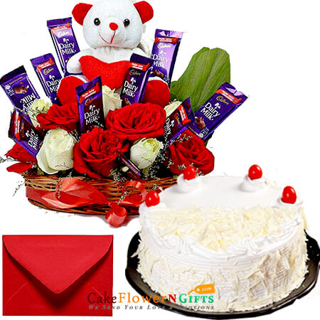 half kg white forest cake in special roses teddy chocolate basket