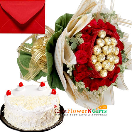 white forest cake and 20 red roses with 16 Ferrero Rocher Chocolate Bouquet