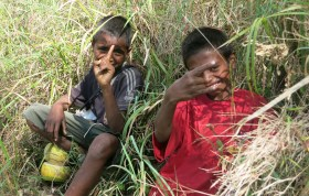 At Oeiburu, we're assigned two young guides for $10 each, plus $20 for the village to look after the car. The boys speak Makassae, a different dialect from the Tetun we're learning in Dili. They dart ahead in jandals, chatting and occasionally breaking into song. They've got none of our flash walking gear, snacks, electrolyte solution or water bottles, though one has a pouch cut from a rice sack containing a catapault and knife.