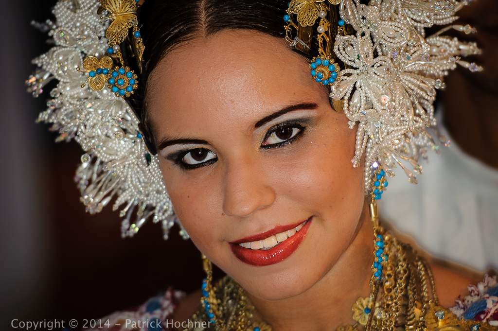 Young Panamean girl wearing a Pollera, Panama