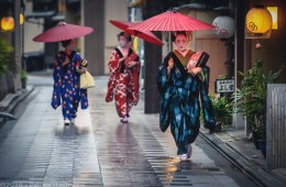 Hanamachi sous la pluie, Kyoto