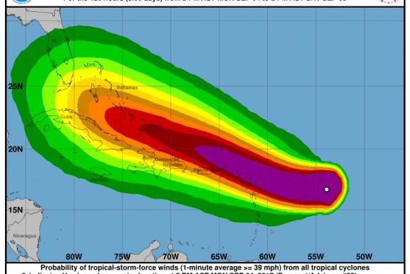 Mapa mostra localização do furacão Irma no Caribe