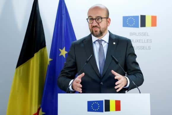 Primeiro-ministro da Bélgica, Charles Michel, durante coletiva de imprensa em Bruxelas