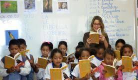 Brasília No quadro-negro da sala de aula da professora Elieth Portilho estão fotos de pássaros e frutas do Cerrado. As cartilhas falam de temas rurais e práticas do campo e foram elaboradas pela professora e os