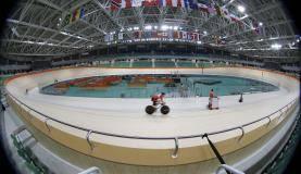 Rio de Janeiro - Equipe de ciclismo da Holanda treina para os Jogos Olímpicos Rio 2016, no Velódromo do Parque Olímpico da Barra da Tijuca (Fernando Frazão/Agência Brasil)