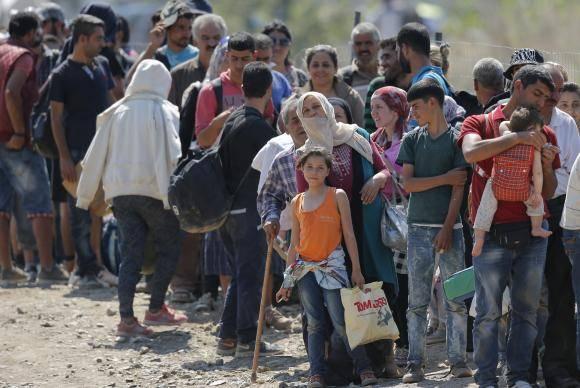 Refugiados na fronteira da Grécia
