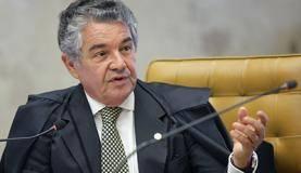 Brasília - Ministro Marco Aurélio Mello no julgamento de ação para impedir que parlamentar réu ocupe a presidência da Câmara dos Deputados ou do Senado (Nelson Jr./SCO/STF)