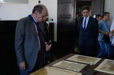 O ministro das Relações Exteriores, Aloysio Nunes, durante visita às dependências do Palácio do Itamaraty, após assinar acordo para recuperação do espaço e acervo da instituição.