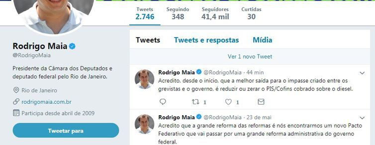 O deputado Rodrigo Maia apagou o Twitter