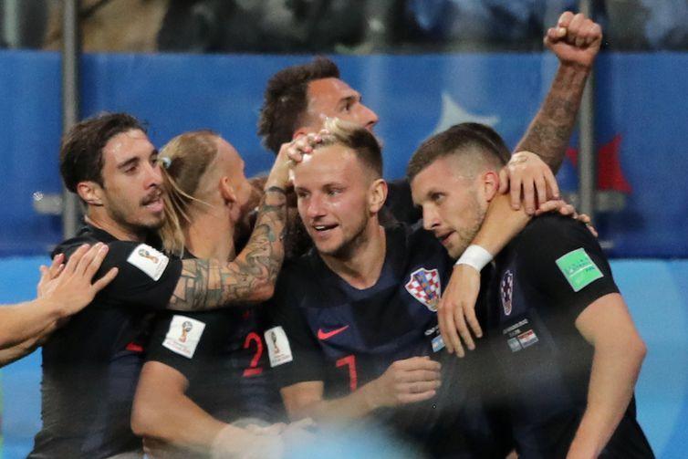 Copa 2018: Argentina e Croácia. Comemoração do primeiro gol da Croácia.