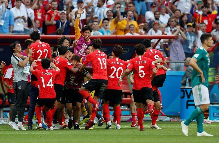 Copa 2018: Alemanha e Coreia. Comemoração do segundo gol da Coreia do Sul.