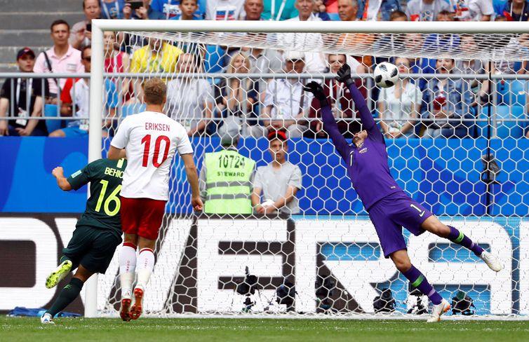 Copa 2018, Dinamarca e Austrália, gol REUTERS/Michael Dalder