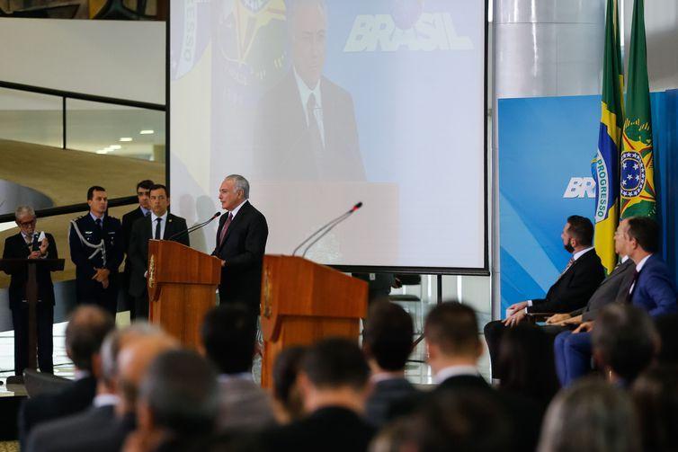 O presidente Michel Temer durante cerimônia de anúncio de medidas para o fortalecimento da agricultura familiar, no Palácio do Planalto.