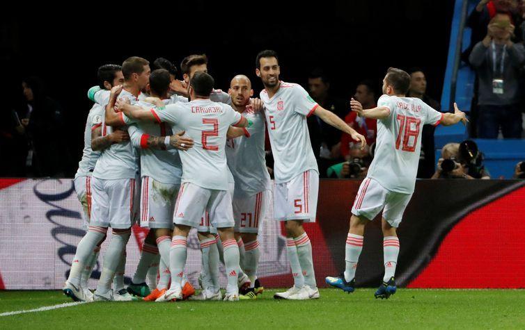 Copa 2018: Espanha e Irã. Comemoração do primeiro gol da Espanha.
