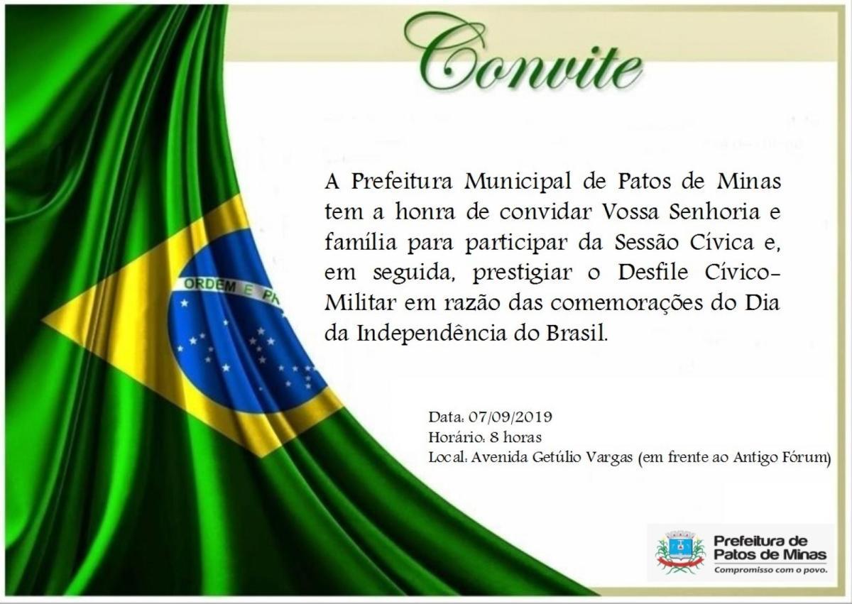 Patos de Minas terá atos cívicos em comemoração a Independência do Brasil