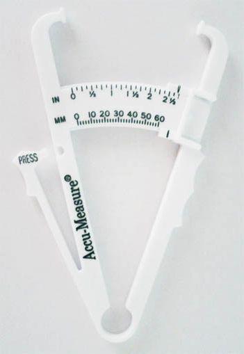 Ein einfacher (und günstiger) Caliper aus Plastik, wie ihn viele Freizeitsportler daheim haben. Kostenpunkt: 5-15 €.