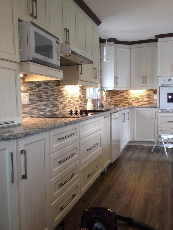 complete kitchen long island renovation with l e d lighting under the cabinets