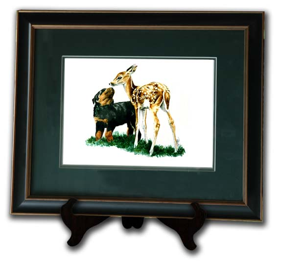 rottie pup_and fawn limited edition print