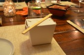 "Course 2, ""boxed up"" was served in a take-out box."