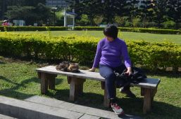 This woman brought her cat to the park.