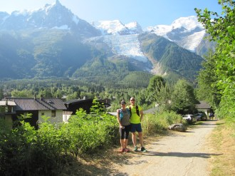 Running through Chamonix on our way to Les Houches.