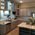 Chalk paint paris grey with graphite washed over kitchen cabinets