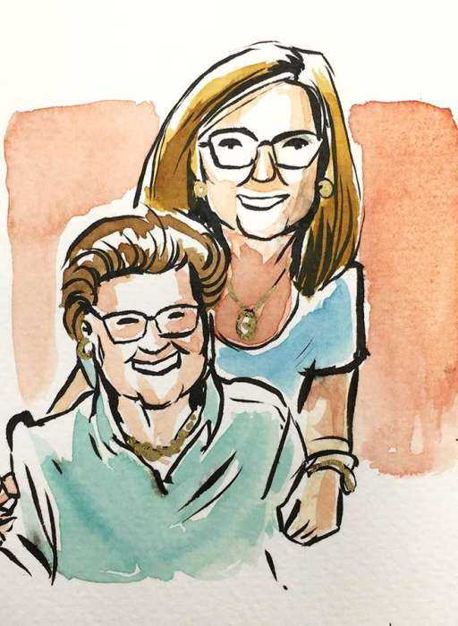 Quick watercolour portraits for Mother's day
