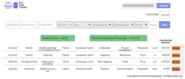 Fair Care Tracker user interface screenshot by Patricia Gestoso (c).