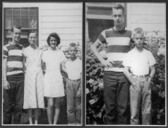 Still the short one. It's frightening how these faces keep showing up in succeeding generations. On the left, Roger Lillie, Vera C. Lillie, Clara Lillie (Moisio), and Little Chuckles. On the right, Big Brother Roger and Little Brother Chuck.