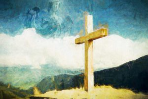 Cross against a colorful sky