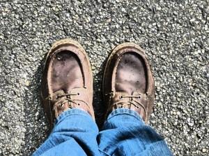 shoe clad feet