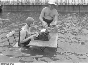 typing in water