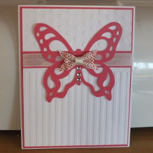 CTMH card using stripe and dot embossing folders