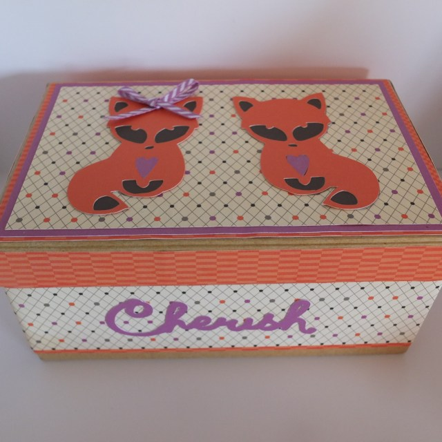Box decorated with Artfully Sent foxes and Scaredy Cat papers.