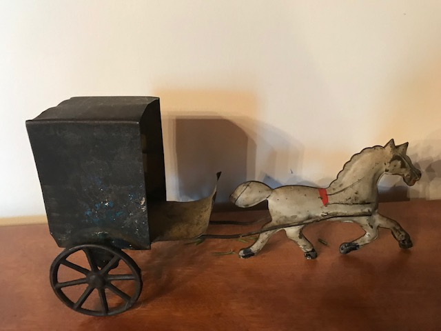 Early Tin Toy Horse & Cart $195